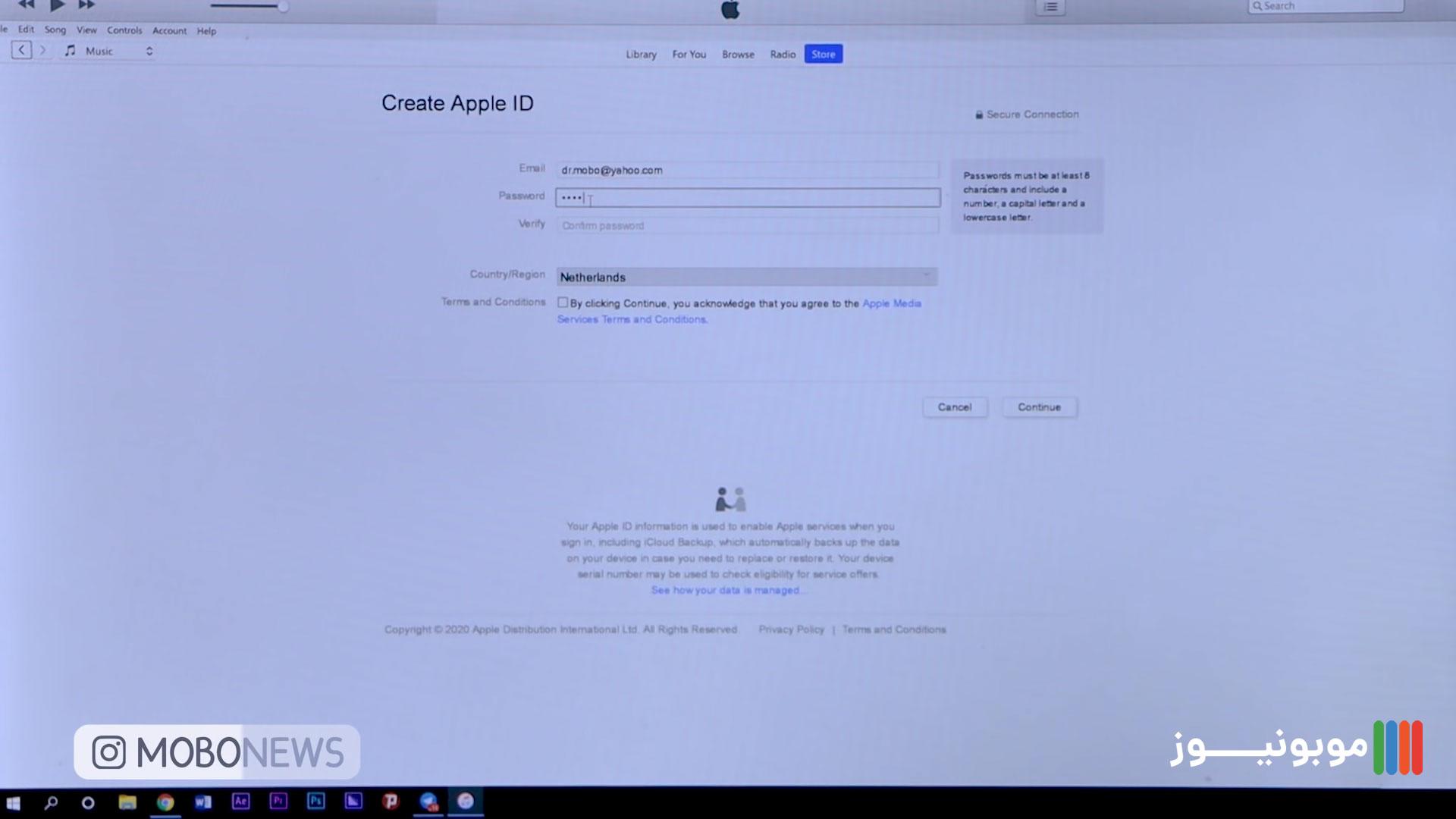 قدم دوم برای ساخت اپل آیدی با کامپیوتر