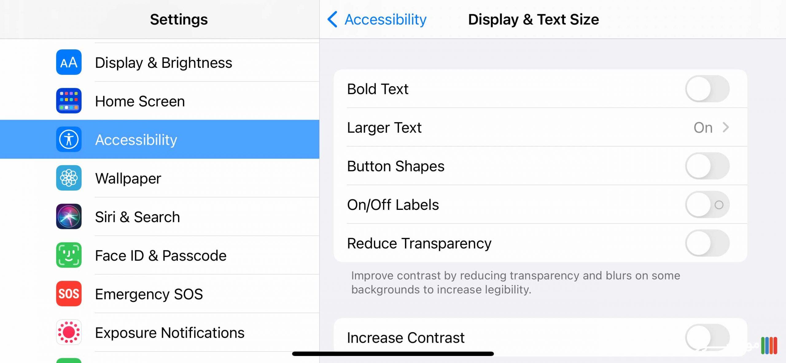 تنظیمات Display textSize آیفون