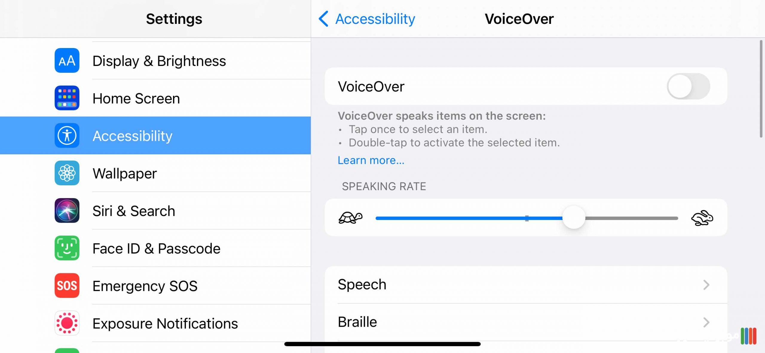 تنظیمات VoiceOver آیفون